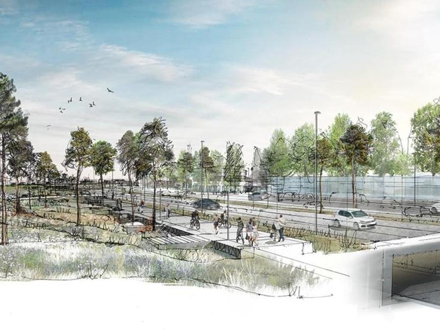 Unten Tunnel, oben Straßen, Grünanlagen sowie Rad-und Fußwege: So sieht eine Animation zur zukünftigen Gestaltung des Frankenschnellwegs aus. Bisher zerschneidet der Schnellweg ganze Stadtteile.