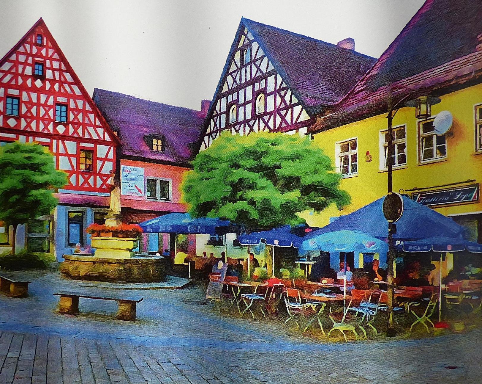 """Der Marktplatz im Herzen der Stadt ist eines der Motive, das es ins Buch """"Art Walk Pottenstein"""" geschafft hat."""