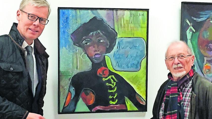 Holger Pütz-von Fabeck (links), der stellvertretende Vorsitzende des Kunstforums, mit dem Muhrer Künstler Michl, Schmidt.