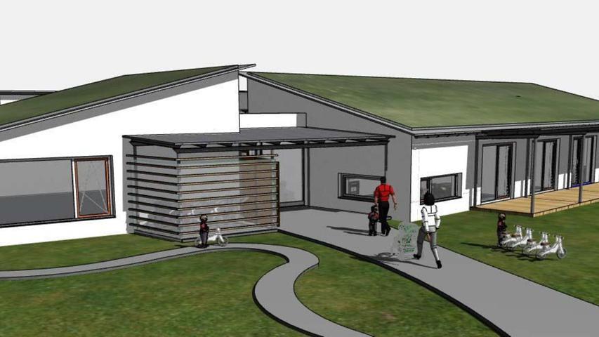 So soll die neue Kindertagesstätte in Gräfensteinberg ausschauen. Errichtet wird sie auf dem Festplatzgelände in direkter Nachbarschaft zur Schule.