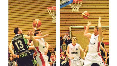 Waren nicht zu bremsen: Die Topscorer des VfL Treuchtlingen Tim Eisenberger sowie Stefan Schmoll und Florian Beierlein wurden von den GGZ  Baskets aus Zwickau oft unfair am Wurf gestört, kamen aber dennoch zusammen auf 82 Punkte.