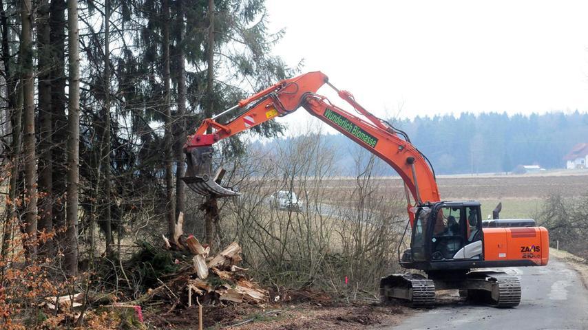 Komplett gesperrt ist derzeit die Straße zwischen Weidenhüll und Leienfels. Wenn diese Woche die Rodungsarbeiten abgeschlossen sind, kann ab nächster Woche der Asphalt abgetragen werden.