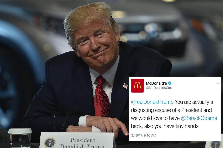McDonald's entschuldigt sich für beleidigende Twitter-Botschaft über Trump