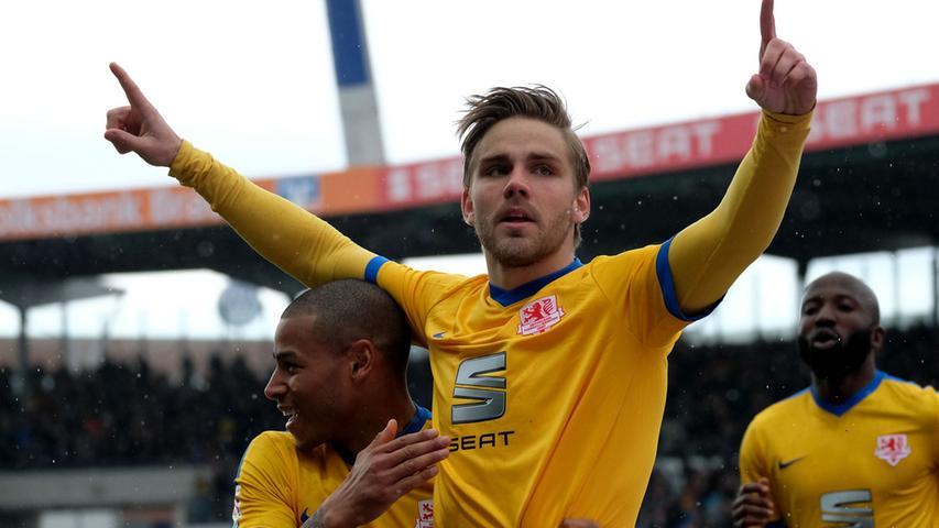 Braunschweigs Christoffer Nyman bejubelt seinen Treffer zum 1:0 gegen den VfL Bochum.