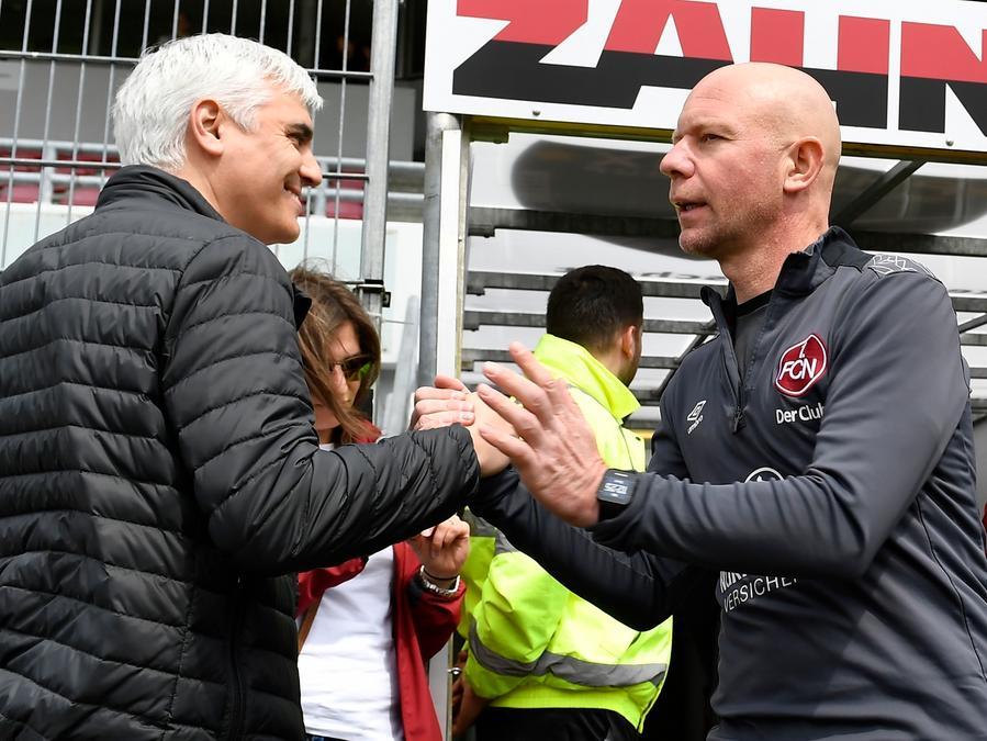 Andreas Bronemann, Club-Vorstand, (links) und Manuel Klökler, Co-Trainer des FCN, gehen in Zukunft getrennte Wege. Der Vertrag mit Klökler wird nicht verlängert.