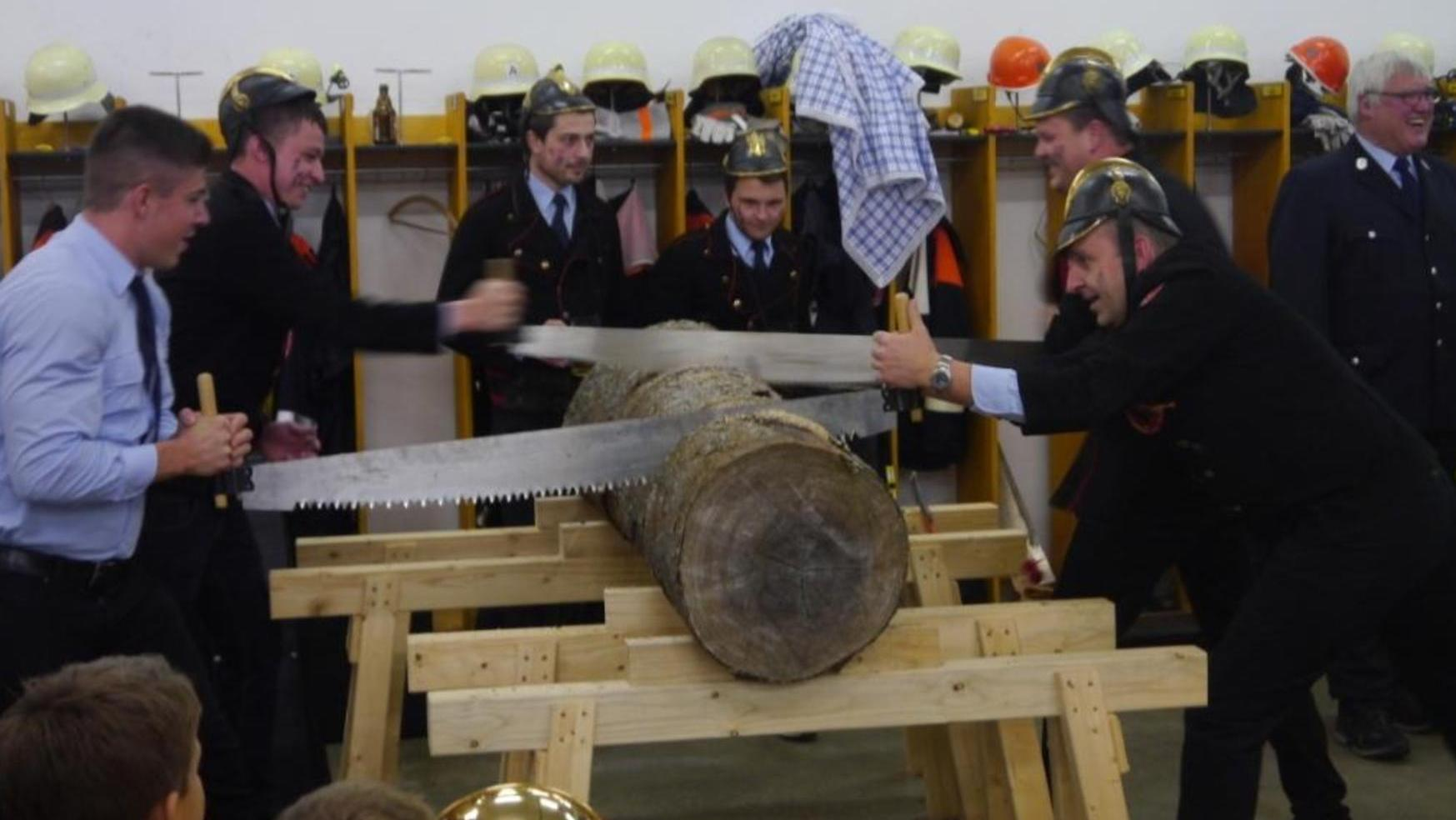 Schweißtreibende Aufgabe: Erst zum Schluss kamen diese großen Sägen zum Einsatz, am Anfang wurde zur Laubsäge gegriffen.