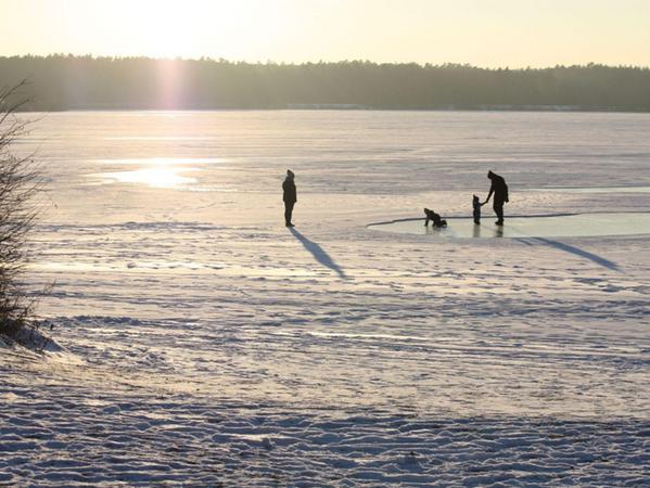 FOTO: 29.1.2017; Marianne Natalis MOTIV: Eis; zugefrorener Altmühlsee; Seezentrum Gunzenhausen-Schlungehof